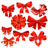 Set of red gift bow with ribbons. Stock Photo