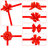 Set of red gift bows with ribbons. Royalty Free Stock Photography