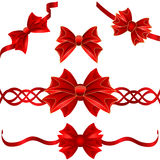 Set of red gift bows Stock Image
