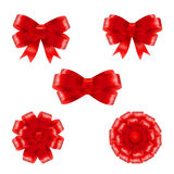 Set of red gift bows with ribbons. Vector illustration Stock Photography