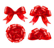 Set of red gift bows with ribbons. Vector Royalty Free Stock Photos