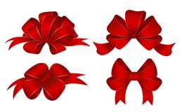 Set of red gift bows. Vector illustration. Concept for invitation, banners, gift cards, congratulation or website layout vector. Vector Stock Photo