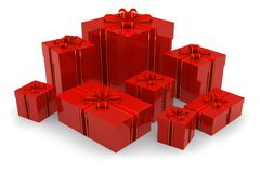 Set of red gift boxes Royalty Free Stock Photos