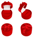 Set of Red Gift Velvet Boxes For Jewelry. Royalty Free Stock Photos
