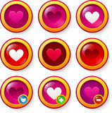 Set of red glass buttons with hearts. Glass buttons with hearts, like symbols for valentines design Stock Photography