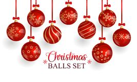 Red glass christmas balls with christmas ornament and red bows stock illustration