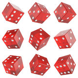 Set red glass dice Stock Photography