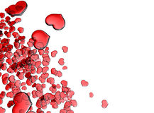 Set of red glass hearts Royalty Free Stock Photography