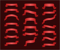 Set of 20 red glossy ribbon banners  on black background.  Royalty Free Stock Images
