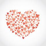 Set Red glossy shiny heart on white background Stock Images