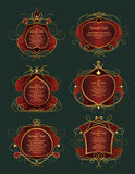 Set of red and gold frames Royalty Free Stock Photo