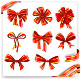 Set of red and gold gift bows with ribbons. Stock Images