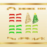 Set of red, gold and green ribbons and banners Stock Photos