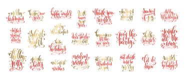 Set of 25 red and gold hand lettering inscription celebration qu. Otes to winter holiday and christmas design, calligraphy vector illustration collection Stock Image
