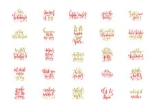 Set of 25 red and gold hand lettering merry christmas. And happy new year celebration quotes, calligraphy vector illustration collection Stock Photos