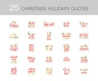 Set of 25 red and gold hand lettering merry christmas. And happy new year quotes to winter holiday design, calligraphy vector illustration collection Royalty Free Stock Photography