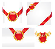 Set of Red Gold Label Stickers Royalty Free Stock Photography