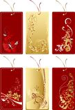 Set of red and gold labels Royalty Free Stock Image