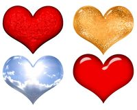 Set of red,gold,silver and glass valentine hearts Stock Photography
