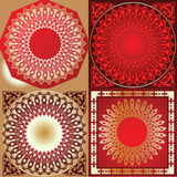 Set Of Red Gold Various  Ornament Stock Photo