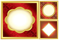 Set of red and golden decorative frames - eps Stock Images