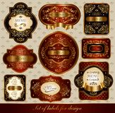 Set of red-golden labels. Ornaments and labels for decoration your projects Stock Photo