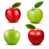 Set of red and green apple fruits with cut and gre Stock Image
