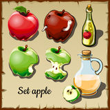 Set of red and green apples, and drinks of them Royalty Free Stock Image