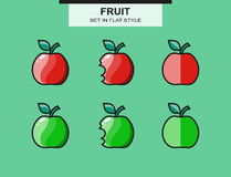 Set of red and green apples in a flat style Stock Images