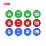 Set of red green blue web contact us buttons vector isolated. Eps10 vector illustration