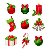 Set of red and green Christmas decorations. Vector illustration. Stock Photography