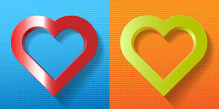 Set red green heart frame on textured background Stock Photo