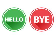 Set red and green icons buttons. Hello and bye. Vector royalty free illustration