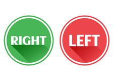 Set red and green icons buttons. Right and left. Vector vector illustration