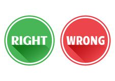 Set red and green icons buttons. Right and wrong. Vector royalty free illustration