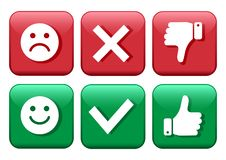 Set red and green icons buttons. Smileys emoticons positive and negative. Confirmation and rejection. Yes and no. Thumb up and. Down. Like and dislike. Vector stock illustration