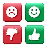 Set red and green icons buttons. Smileys emoticons positive and negative. Thumb up and down. Like and dislike. Vector royalty free illustration
