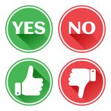 Set red and green icons buttons. Thumb up and down. Like and dislike. Confirmation and rejection. Yes and no. Vector. Illustration stock illustration