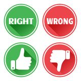 Set red and green icons buttons. Thumb up and down. Right and wrong. Vector. Illustration royalty free illustration