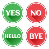 Set red and green icons buttons. Yes and no. Hello and bye. Vector vector illustration