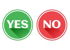 Set red and green icons buttons. Yes and no. Vector stock illustration