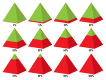 Set of red green isometry pyramid charts with symmetric layered  percent. Elements for infographics. Vector Royalty Free Stock Photography