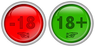 Set of red and green round web buttons for 18 + Adult Content, glossy design, Royalty Free Stock Photo