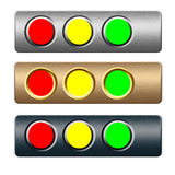 Set of red green yellow metal buttons. Set of metal buttons on textured boards for web designers Royalty Free Stock Photography
