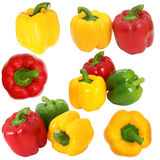 Set red green and yellow sweet  bell pepper isolated on white ba Royalty Free Stock Image