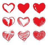 Set of red grunge hearts. Vector heart shapes Royalty Free Stock Images