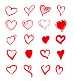 Set of red grunge hearts. Vector heart shapes Vector Illustration