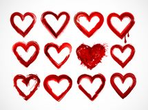 Set of red grunge hearts on white background. Vector illustration Royalty Free Stock Photos