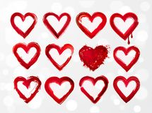 Set of red grunge hearts on white glowing background. Vector illustration Stock Images