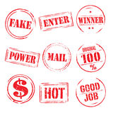 Set of red  grunge stamps Stock Photography